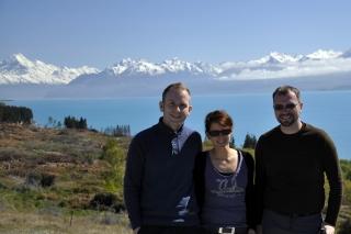 Wir am Lake Pukaki und Mount Cook