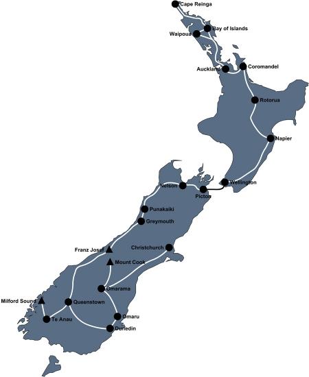 Reiseroute Neuseeland 2010